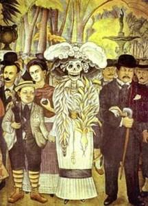 """Detalle del Mural """"Sueño de una tarde Dominical"""", donde el Autor, Diego Rivera, muestra un autorretrato suyo con la mitológica """"Catrina"""" y su muy famosa pareja, también pintora Frida Kahlo, entre otros familiares y personajes históricos."""