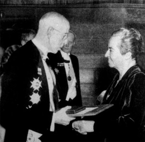 Gabriela Mistral Receiving the Nobel Prize from the Swedish King in Stockholm in 1945