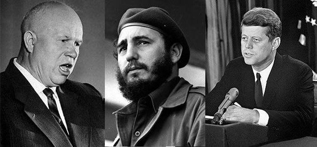 Nikita khrushchev, Fidel Castro and John F. Kennedy - protagonists during the Cuban missile crisis
