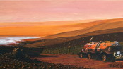 PRESSURIZED ROVER ON MARS, Acrilic Painting by Dr. Pascal Lee Painting depicting a pressurized rover exploring the Valles Marineris canyon system on Mars. (Acrylic on canvas, 12 x 24 inches, 2011).