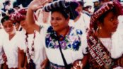 Rigobert Menchu, among her Mayan Paople. Photo by Nobel Prize Organization
