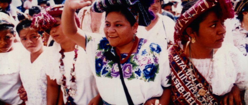 Rigobert Menchu, among her Mayan Paople. Photo by Nobel Prize Organization